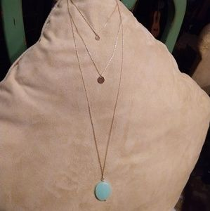 Jewelry - Gold Multi-layered Circular Solid & Jade Necklace